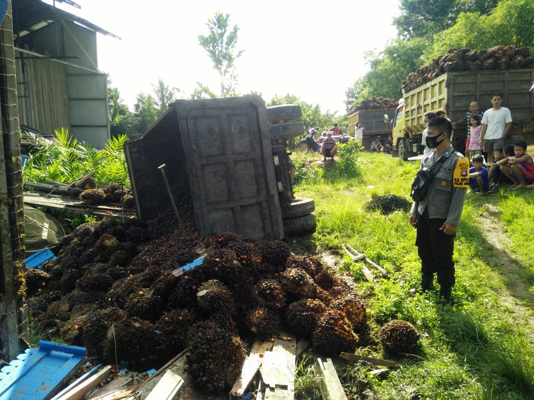 Akibat Slip, Truk Sawit Tabrak Rumah Warga Desa Bagak