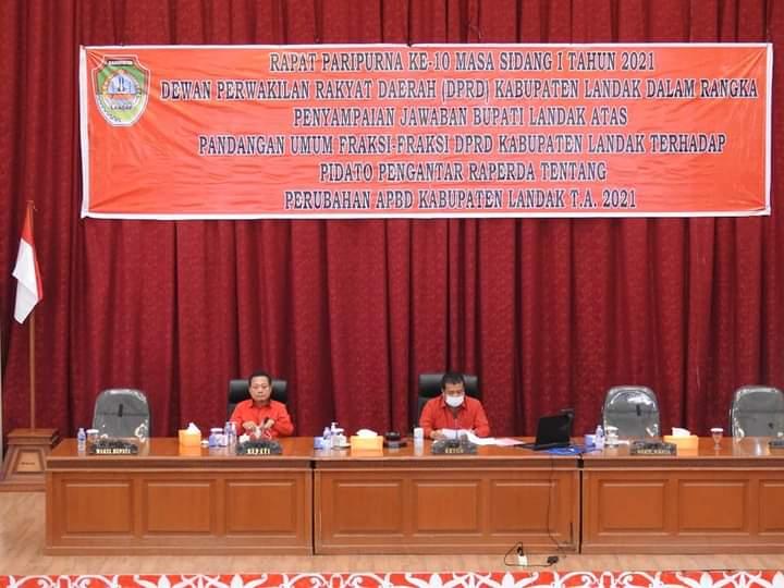 Wakil Bupati Jawab Pandangan Umum Fraksi DPRD Landak Tentang P-APBD 2021